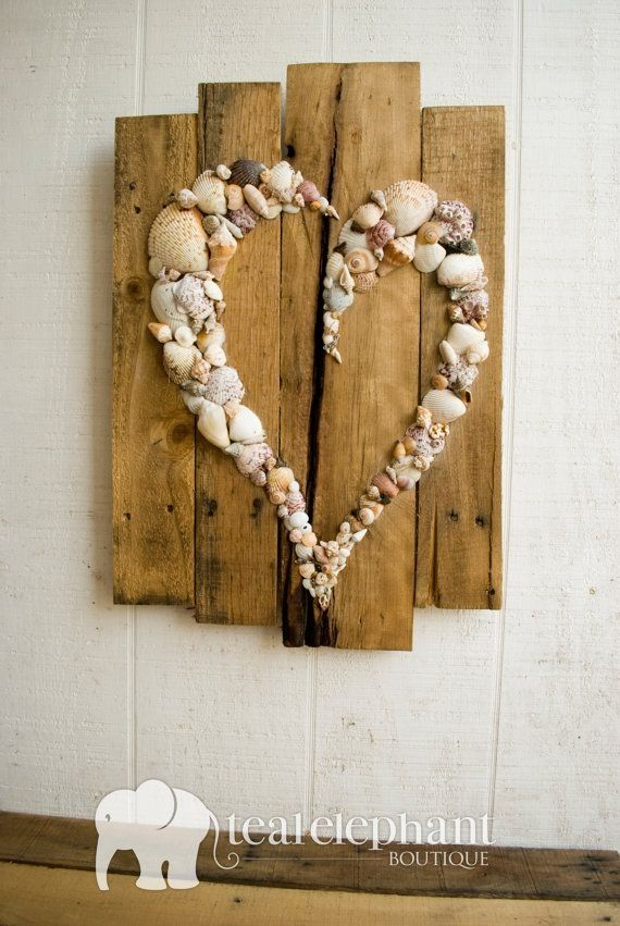 Pallet Art Natural Shell Skewed Heart Wall Hanging Rustic Shabby Chic Seaglass Sharksteeth Nautical Seashore by maliakalikina
