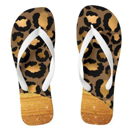 b5784e7b3d4905 Gold Stripes on Metal Glamour Cheetah Skin Flip Flops - glamour gifts diy  special unique