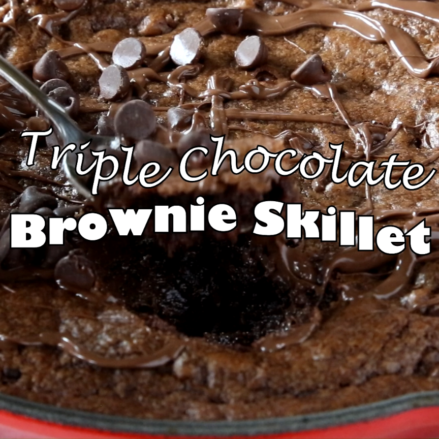 Triple Chocolate Skillet Brownie- rich, chocolatey brownies baked in a cast iron skillet. 3 types of chocolate for extra deliciousness!