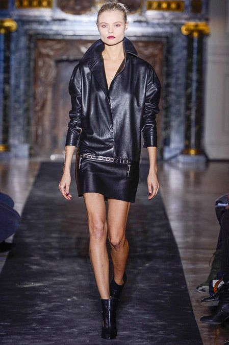 Black Leather Dress with Round Shoulders Anthony VaccarelloFall Winter 2013 #pfw #trendy #trends