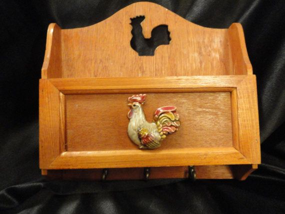 Wooden letter box features metal hooks for by VintageAdorables, $9.00