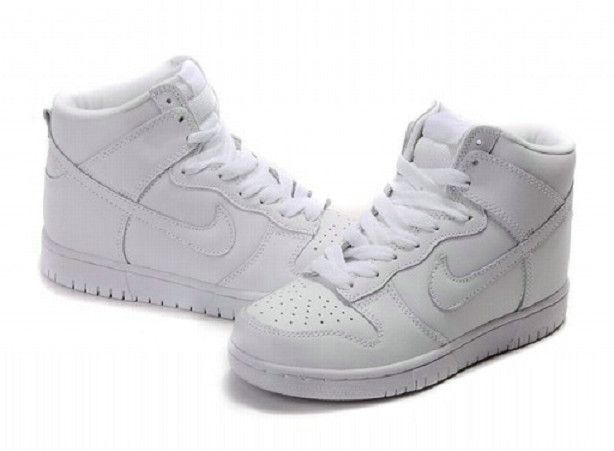 more photos 7b6c9 c41d3 Nike Dunk High Top Men Women Premium SB All White Shoes ...