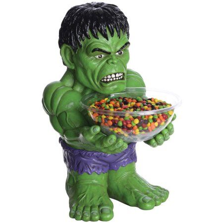 The Hulk Candy Bowl and Holder Halloween Decoration, Green Candy - halloween decorations at walmart