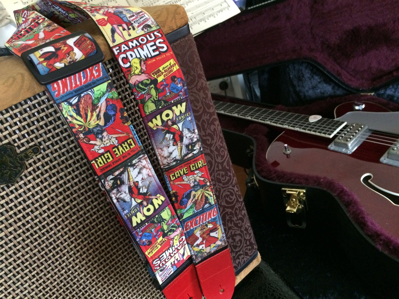 Fabulous fierce females comic book cover guitar strap