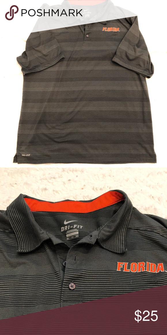 0e01a7bf0e3 Nike Dri Fit University of Florida men's polo 🐊 Awesome Nike Dri Fit gray  striped men's University of Florida polo shirt! 🐊 Nike Shirts Polos