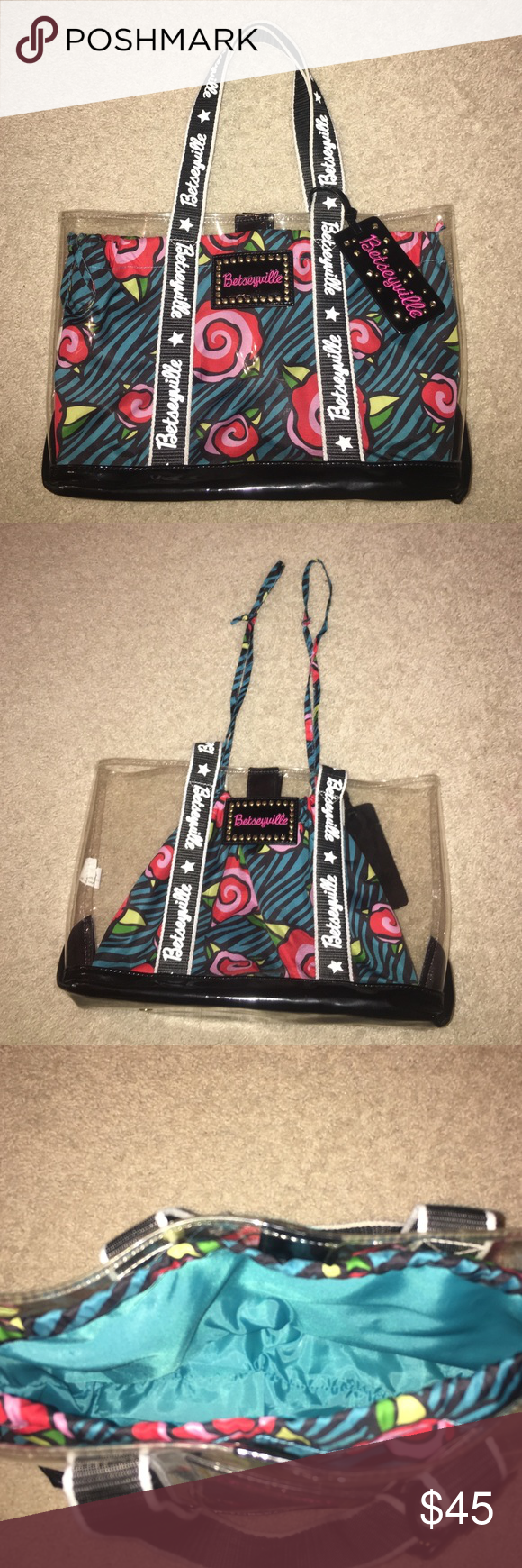 Betseyville by Betsey Johnson Vinyl Tote Bag Betseyville by Betsey Johnson Vinyl Tote Bag, vinyl outside with a drawstring bag attached inside, the bag closes with magnets, blue with black stripes and roses, OBO Betsey Johnson Bags Totes