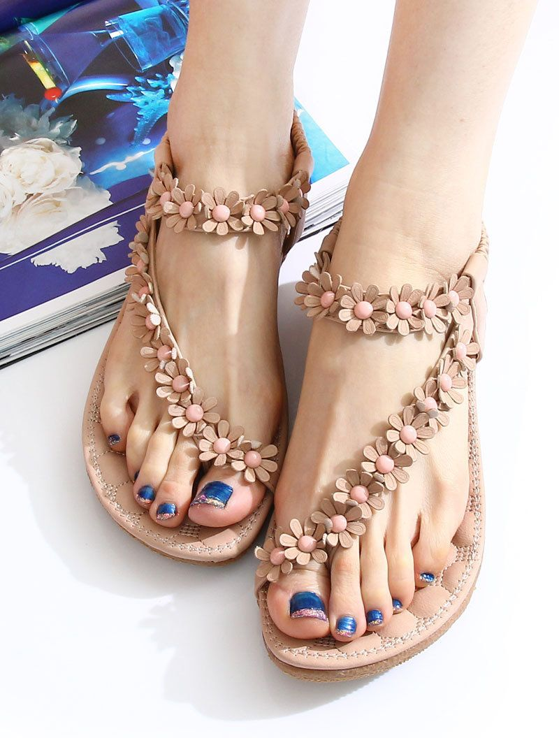 New Style Sweet Bohemian Beading Sandals Shoes  50ade8e8e714