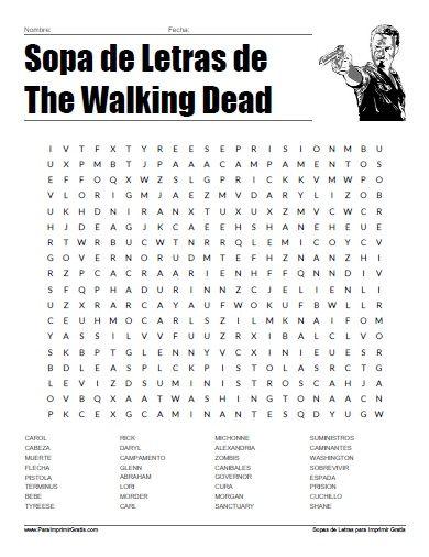 Sopa de Letras de Walking Dead   Sopa de letras   Pinterest   Sopa ...