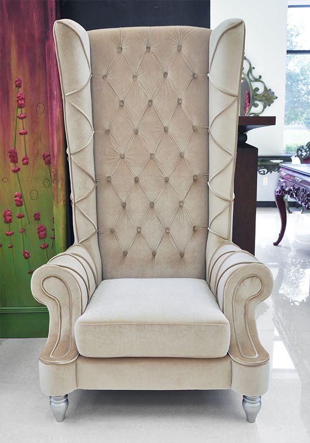 Luxury High Back Chair Baroque New Beige 2.