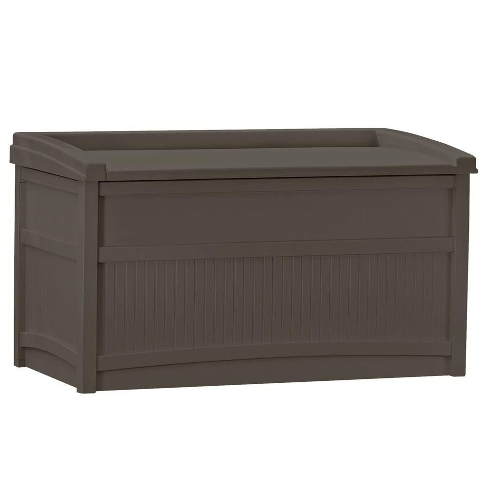 Suncast 50 Gal Resin Deck Box Db5500j The Home Depot Outdoor Deck Storage Box Deck Box Storage Deck Storage