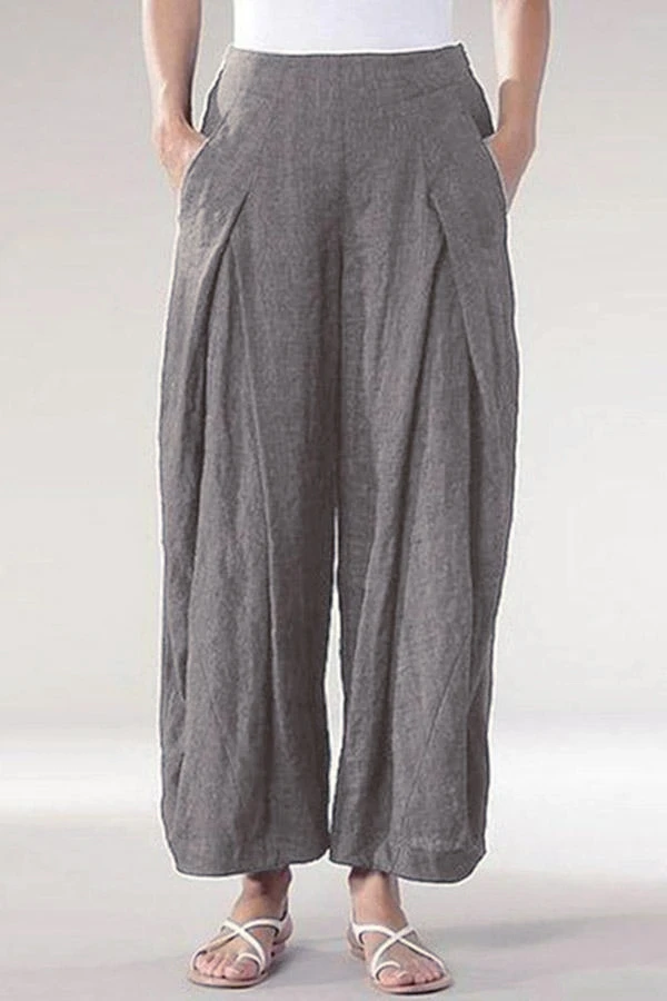 Womens Casual Wide Leg Baggy Pants Cotton Linen Elastic Waist Capri Culottes Trousers Plus Size Palazzo Pant with Pockets