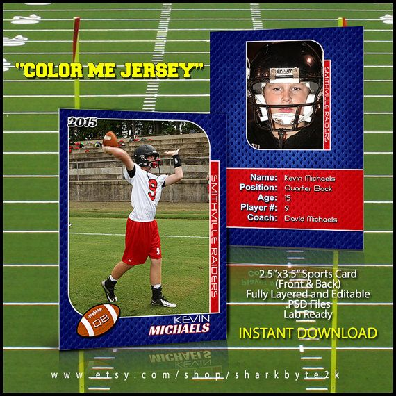 2020 Football Sports Trading Card Template For Photoshop Color Etsy Trading Card Template Card Template Baseball Card Template