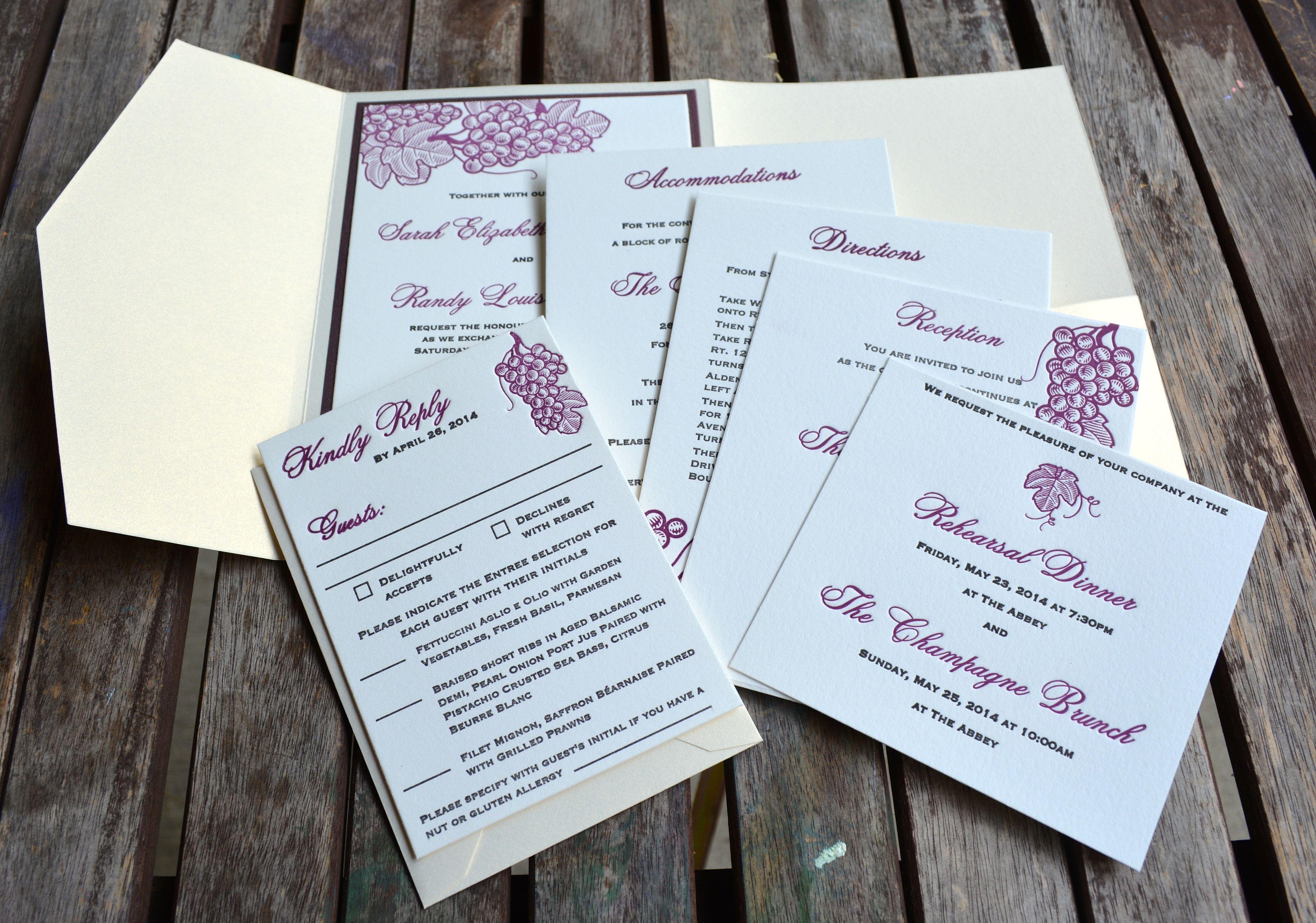 Custom designed wine themed letterpress wedding invitations by lucky