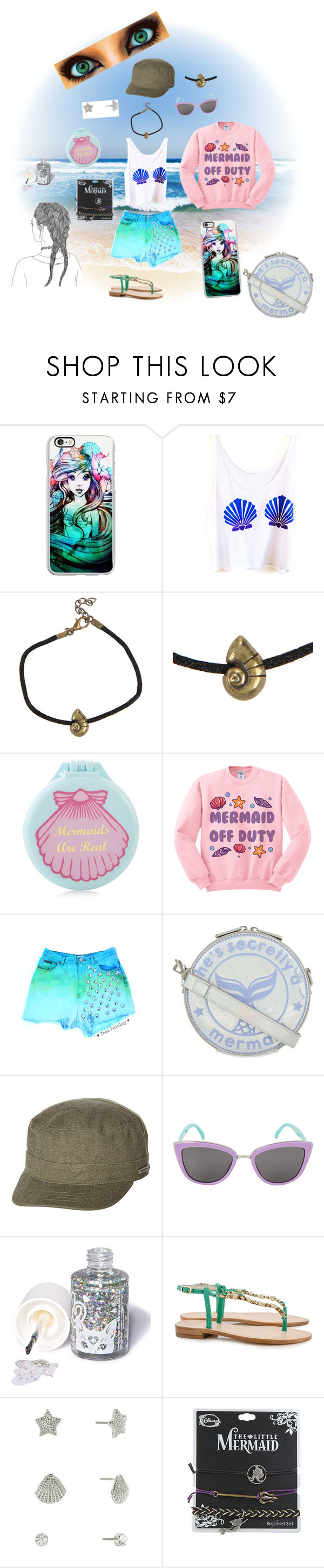 """Mermaid Beach Babe"" by flyawayangel337 ❤ liked on Polyvore featuring Samsung, Disney, Accessorize, Skinnydip, Billabong, Sugarpill and JustFab"