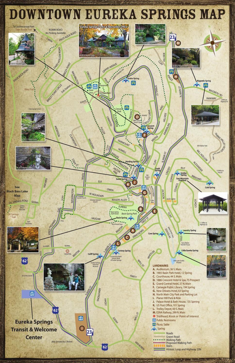 Eureka Springs Arkansas Parks Springs Trails Map Brochure