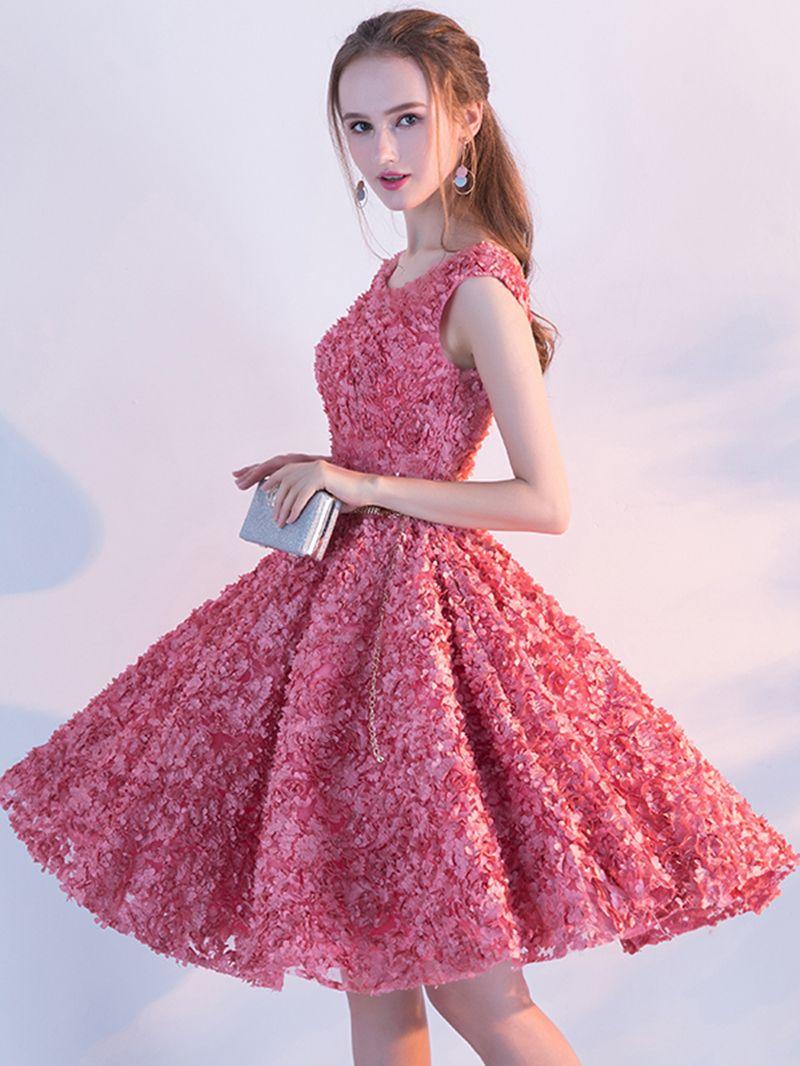 A-Line Sashes Cap Sleeves Rhinestone Homecoming Dress | Vestiditos ...