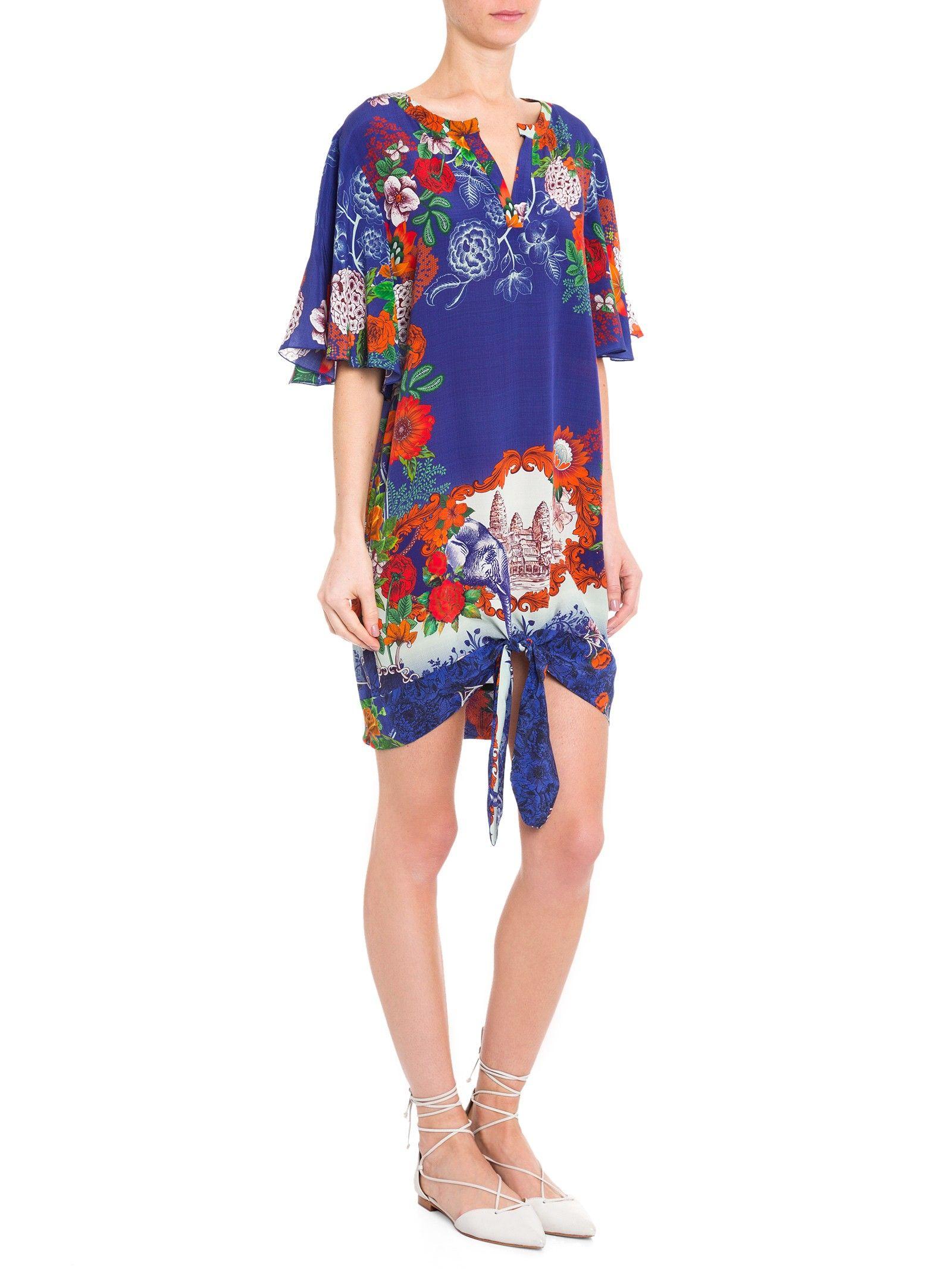 Vestido Papier Peint Exotic - Adriana Barra - Azul  - Shop2gether