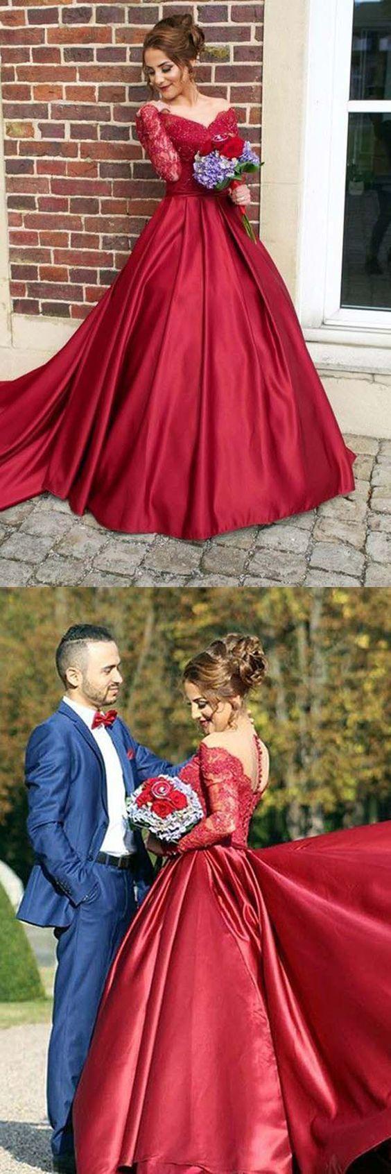 Offtheshoulder sweep train long sleeves burgundy satin prom dress