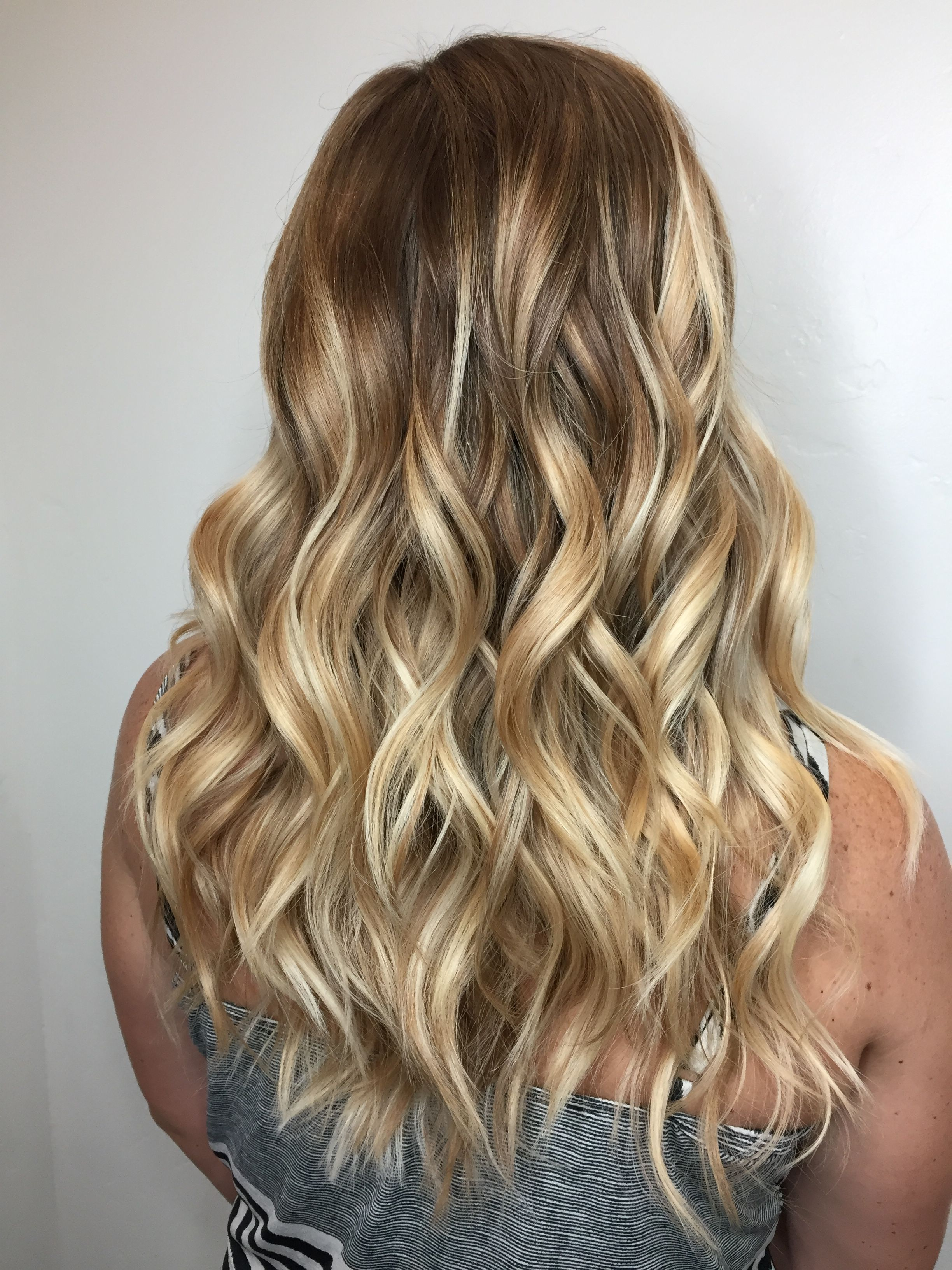 Wheat Blonde Root Shadow And Balayage On Long Layers Haircut For