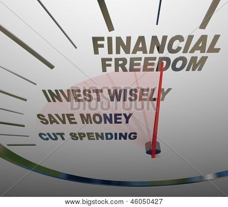 Image of Speedometer Words Financial Security Invest Wisely Save #financenestegg