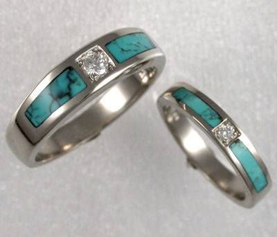 Matching White Gold Wedding Bands Turquoise Wedding Rings Native American Wedding Rings Wedding Ring Bands