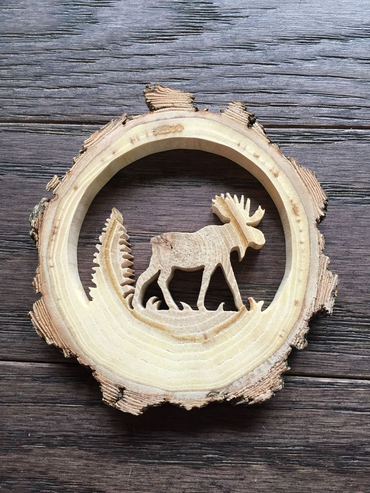 Details about RECLAIMED TREE SLICE - MOOSE & TREE - CHRISTMAS TREE/ WINDOW / WALL ORNAMENT #weihnachtenholz