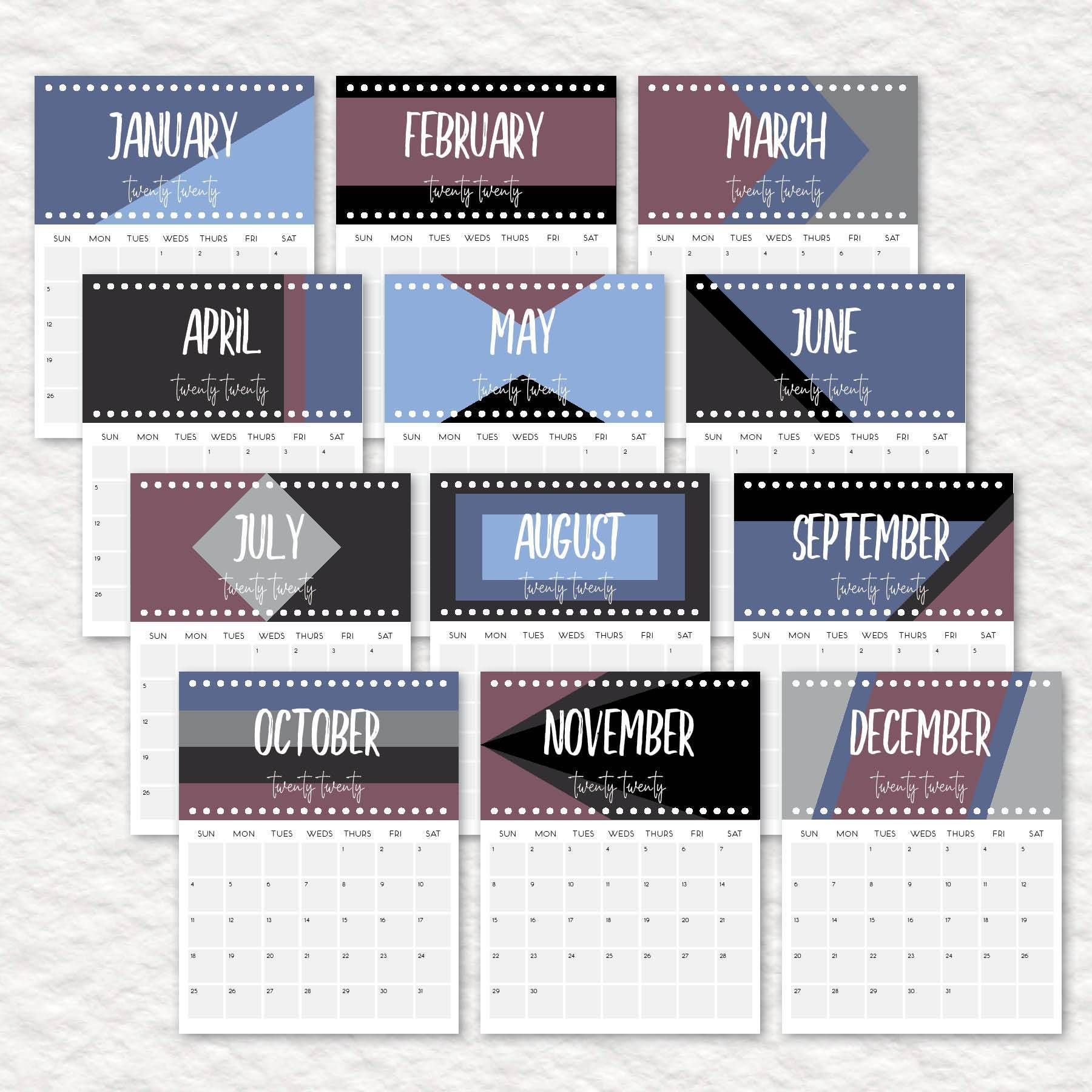 2020 Printable Calendars And Planners Activite Et Activites