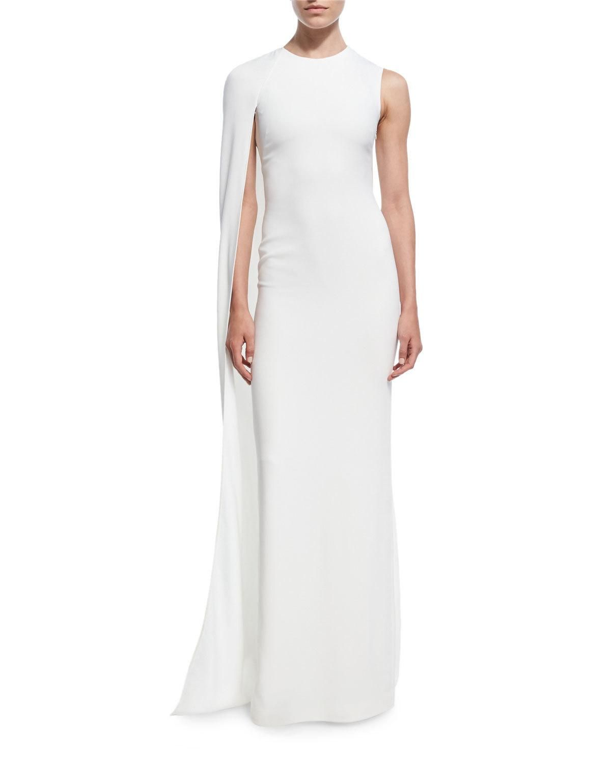 Stella Mccartney Cecilia One Shoulder Cape Gown White Evening Dress Winter Wedding Dress White Fitted Dress [ 1500 x 1200 Pixel ]