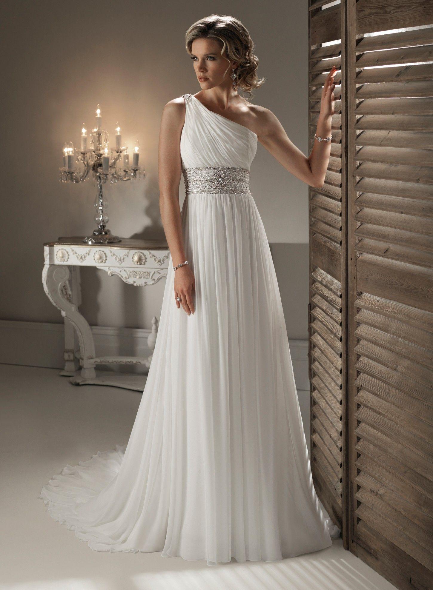 Image for chiffon one shoulder neckline slim a line wedding costume