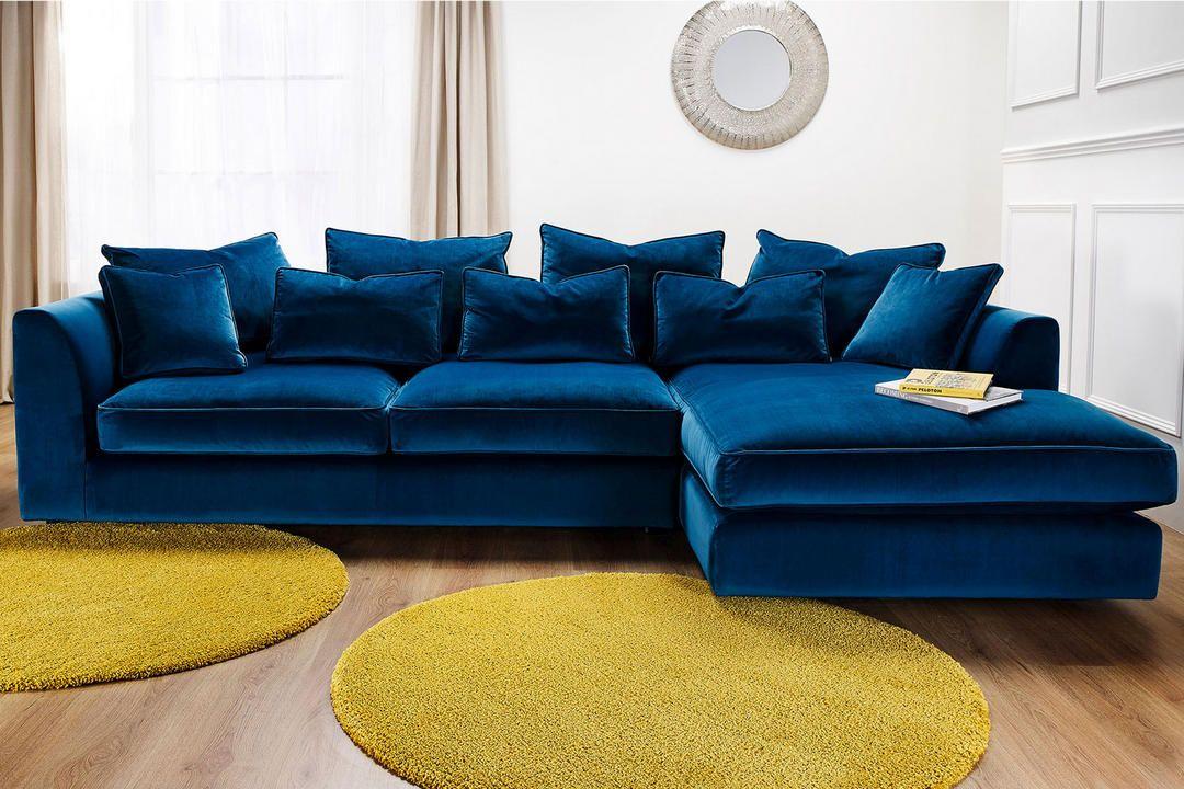 Whitemeadow Bossanova Large Chaise Sofa Left Hand Facing Plush Velvet Airforce In 2020 Corner Sofa Living Room Teal Sofa Best Leather Sofa