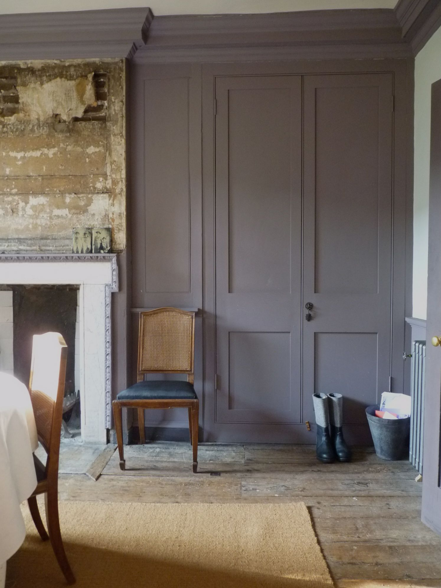 Dining room in Romilly Saumarez s East London house has reinstated