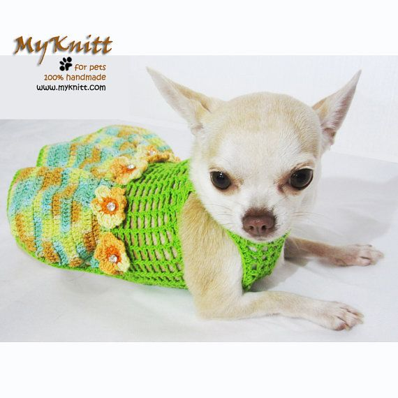 Sexy Dog Dress Mint Green Teacup Chihuahua Clothes with Flowers and ...