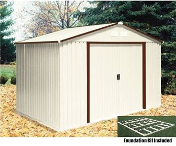 10x8 50234 Del Mar Metal Shed With Foundation Kit Brown Trim Metal Shed Duramax Sheds Vinyl Sheds