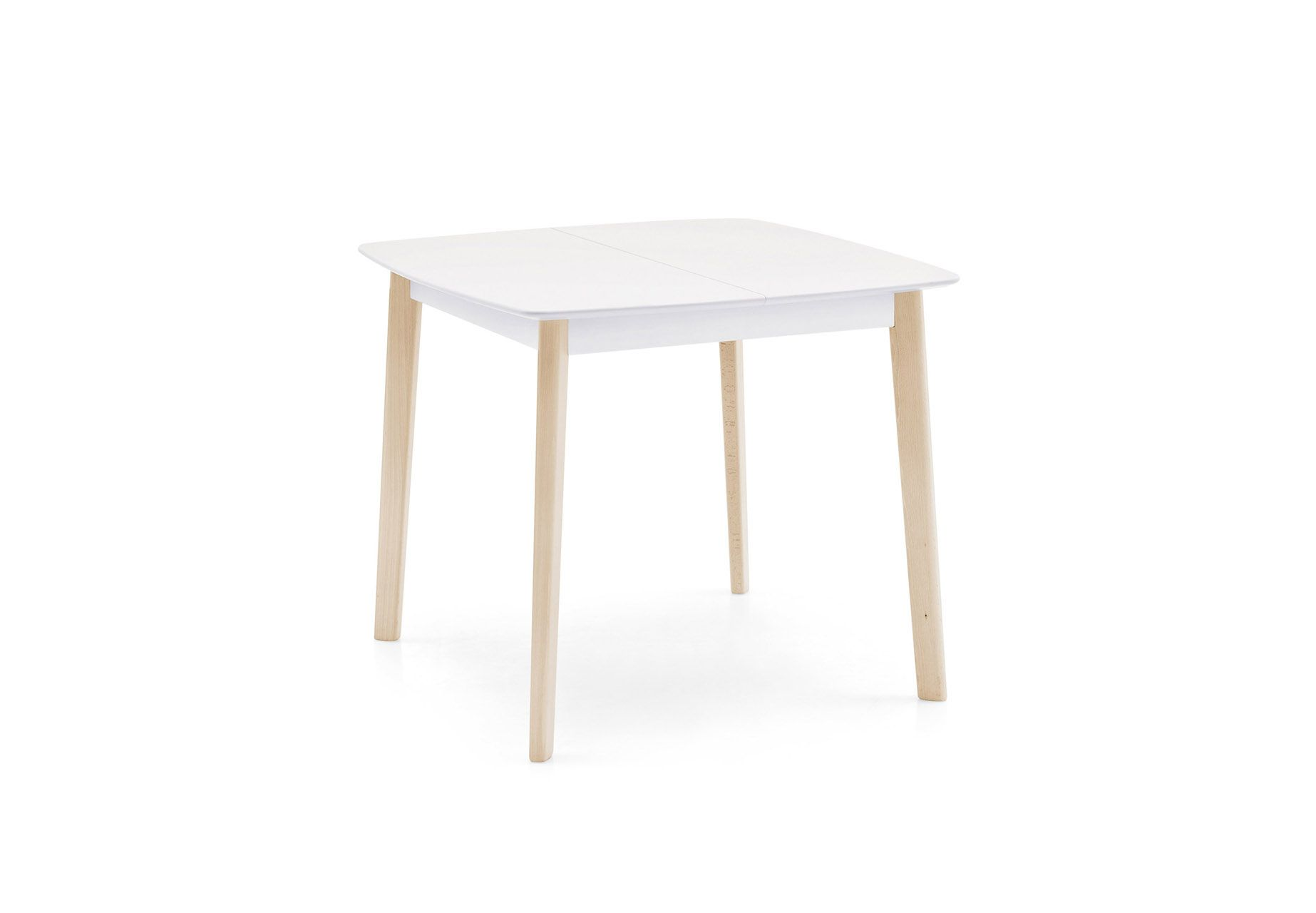 CREAM TABLE is a wooden extending table, square and small.The wooden CREAM  TABLE has a simple design but is made with attention to the smallest d