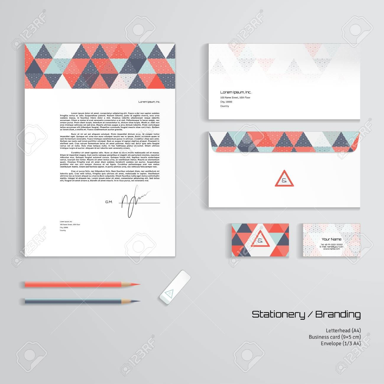 Vector Corporate Identity Templates Multicolored Geometric Pattern Inside Business Card L Free Business Card Templates Fresh Business Cards Id Card Template