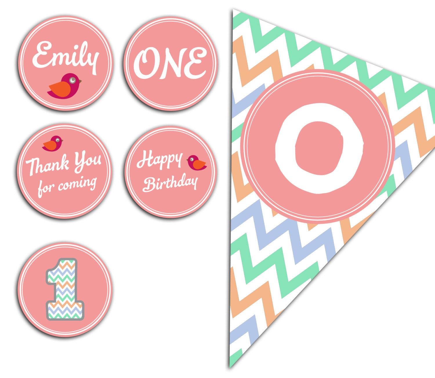 Girl First Birthday Party Pack // Chevron First by ClickNshape, $19.00