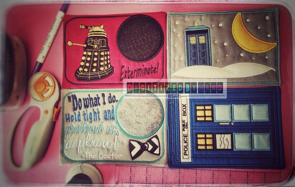 Doctor Who Embroidery Design Mug Rug - In the Hoop Mug Rug for 5x7 Hoops -