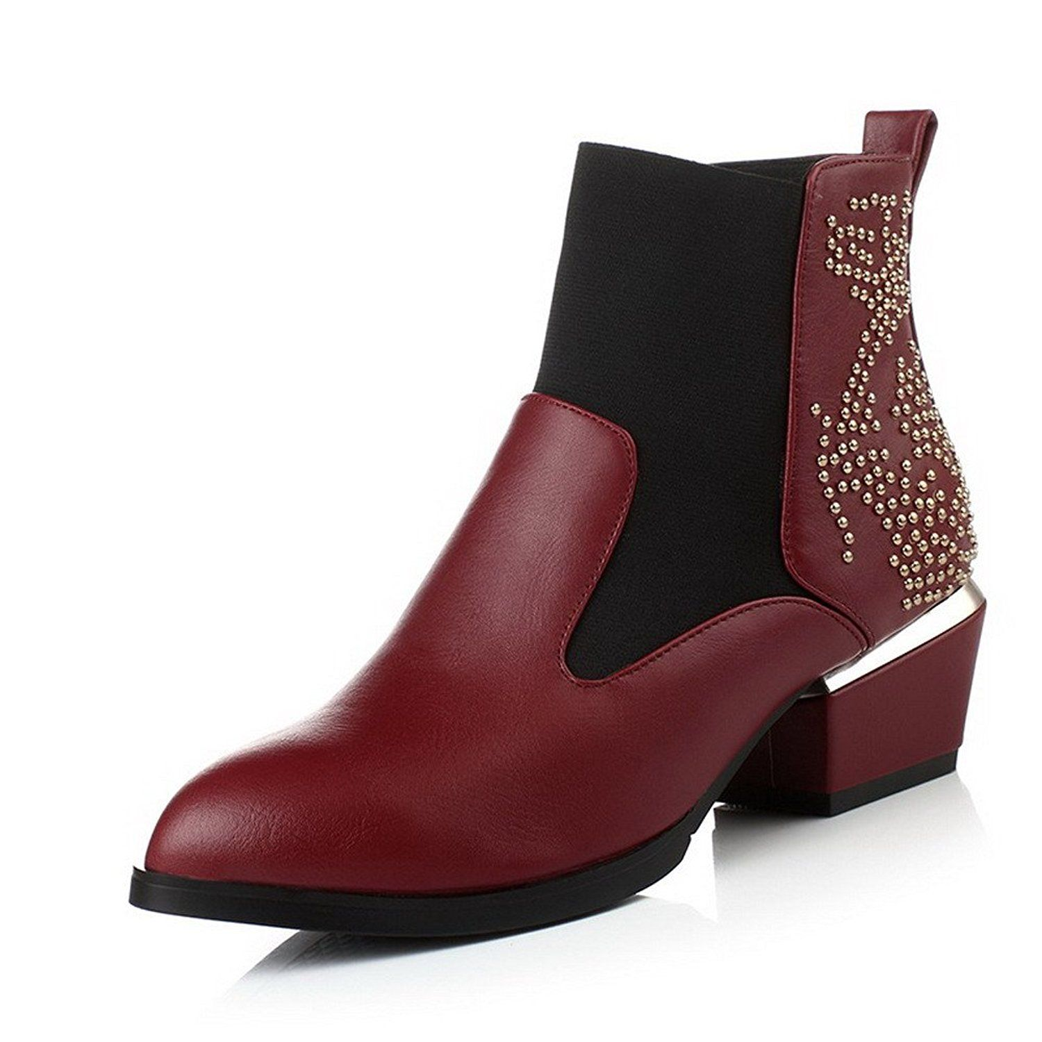 Women's Pull On Kitten Heels Imitated Suede Solid Pointed Closed Toe Boots