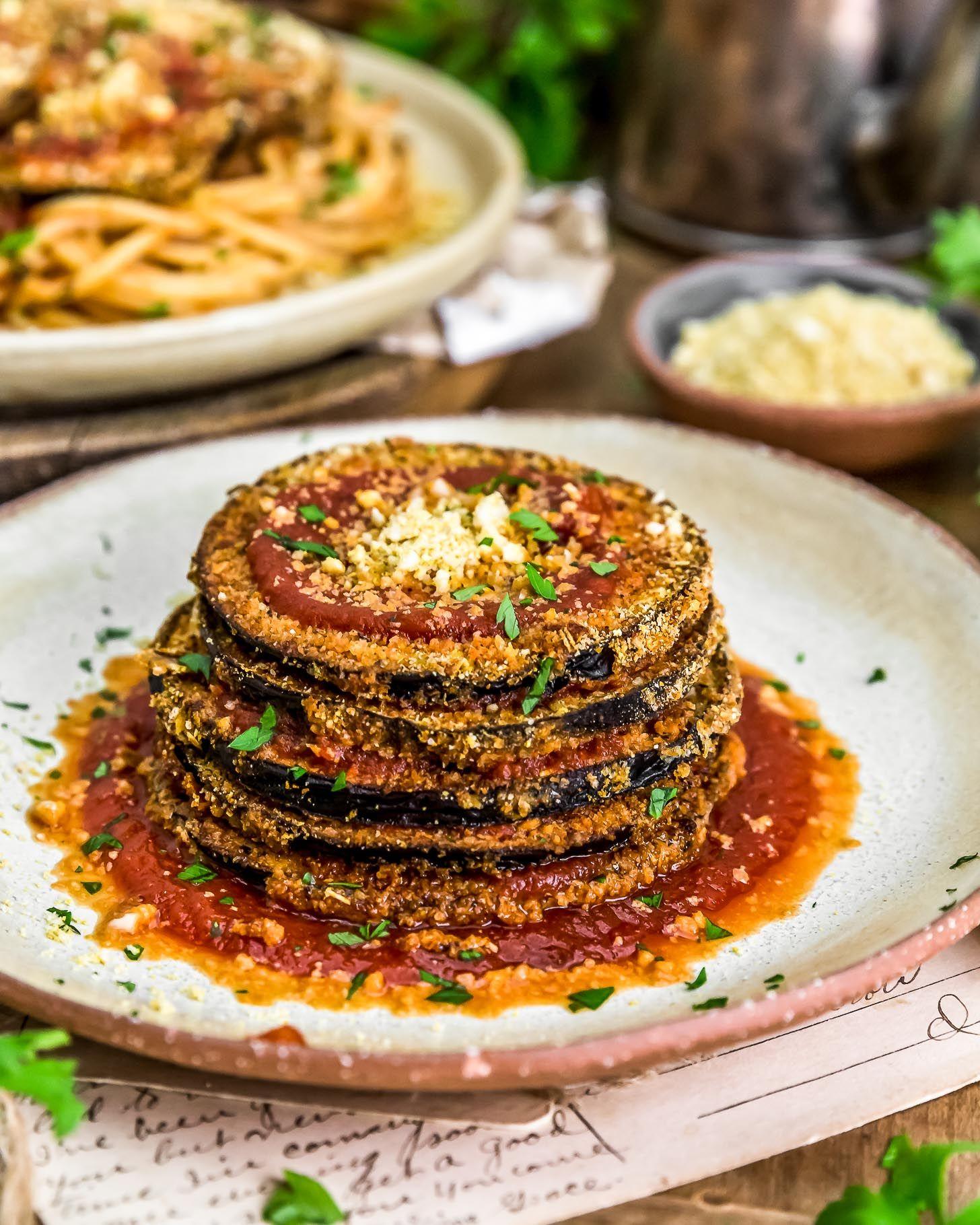 Vegan Eggplant Parmesan Monkey And Me Kitchen Adventures Recipe In 2020 Vegan Eggplant Parmesan Vegan Eggplant Eggplant Parmesan