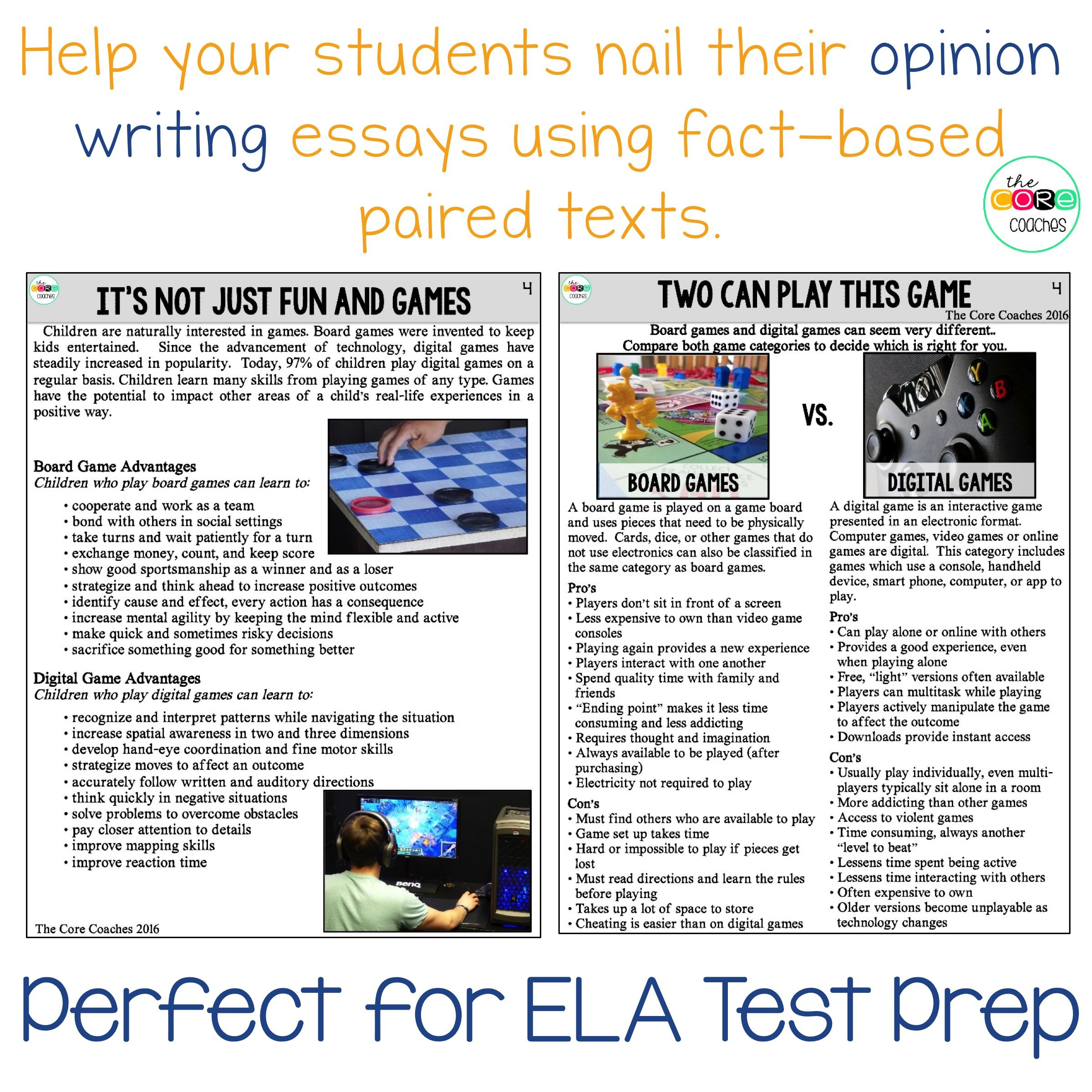 Pin By Christina M On Second Grade Writing Instruction Teaching Paired Texts Video Game Essays Best Essay Violence