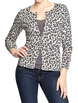 221cab25958f Show your animal instinct. Throw on some cords, a tee, spiky heels and  voila. Grey Womens Leopard-Print Cardi: oldnavy.gap.com $24