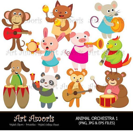 Animal Orchestra Music Instrument Musical Music Band Etsy Digital Clip Art Clip Art Musicals