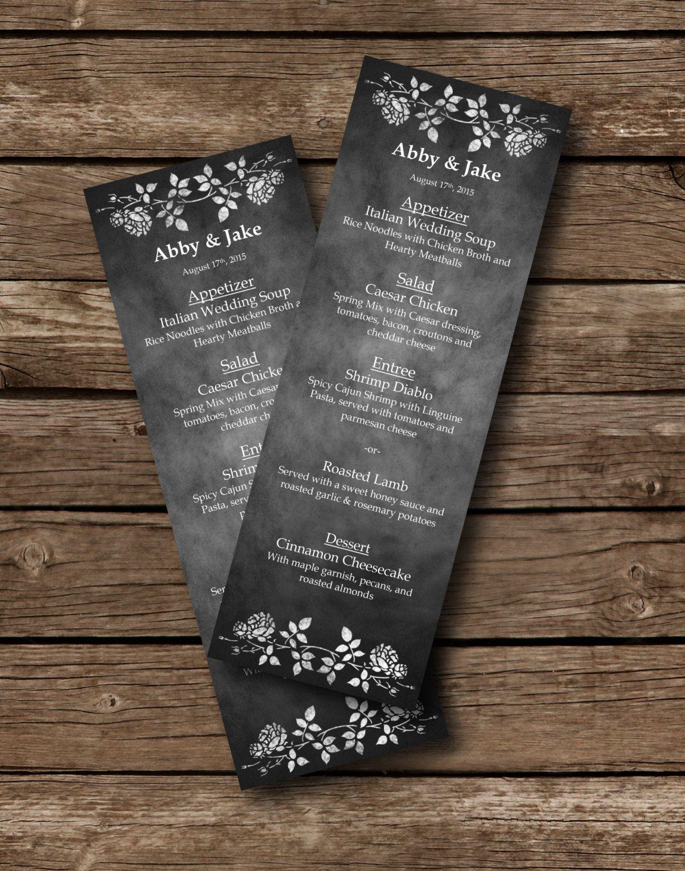 Chalkboard Wedding Menu Template Wedding Menu Printable Menu