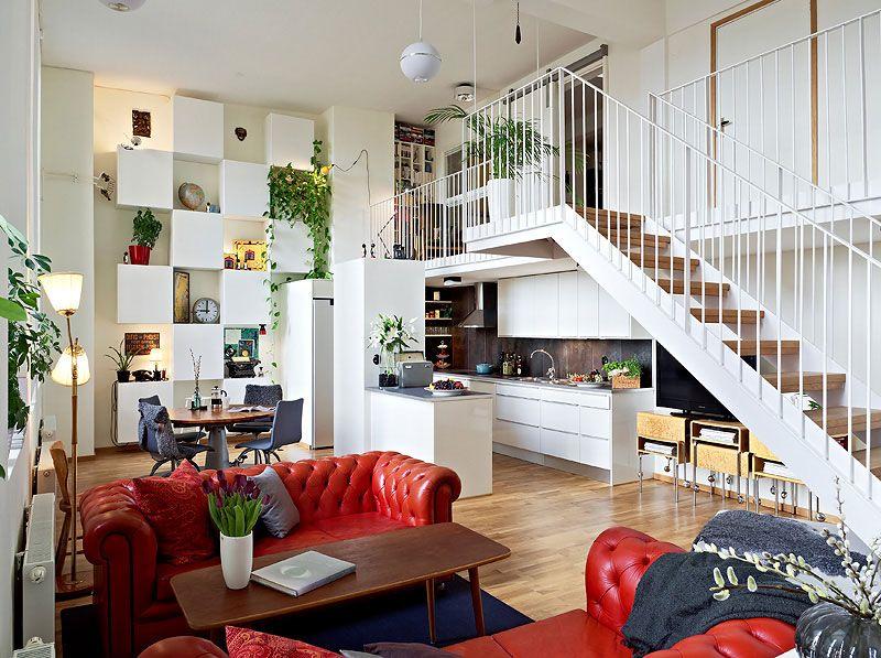 Beautiful Apartment With Mezzanine In Gothenburg Sweden Beautiful Duplex Apart Floor Design Small House Decorating Apartment Design