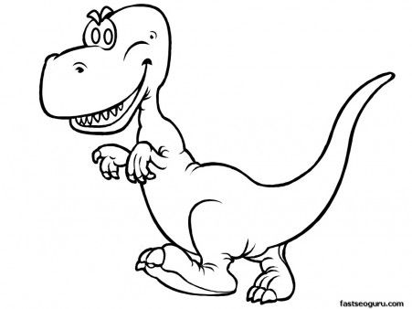Printable Dinosaur Happy Face Tyrannosaurus Rex Coloring In Pages    Printable Coloring Pages For Kids