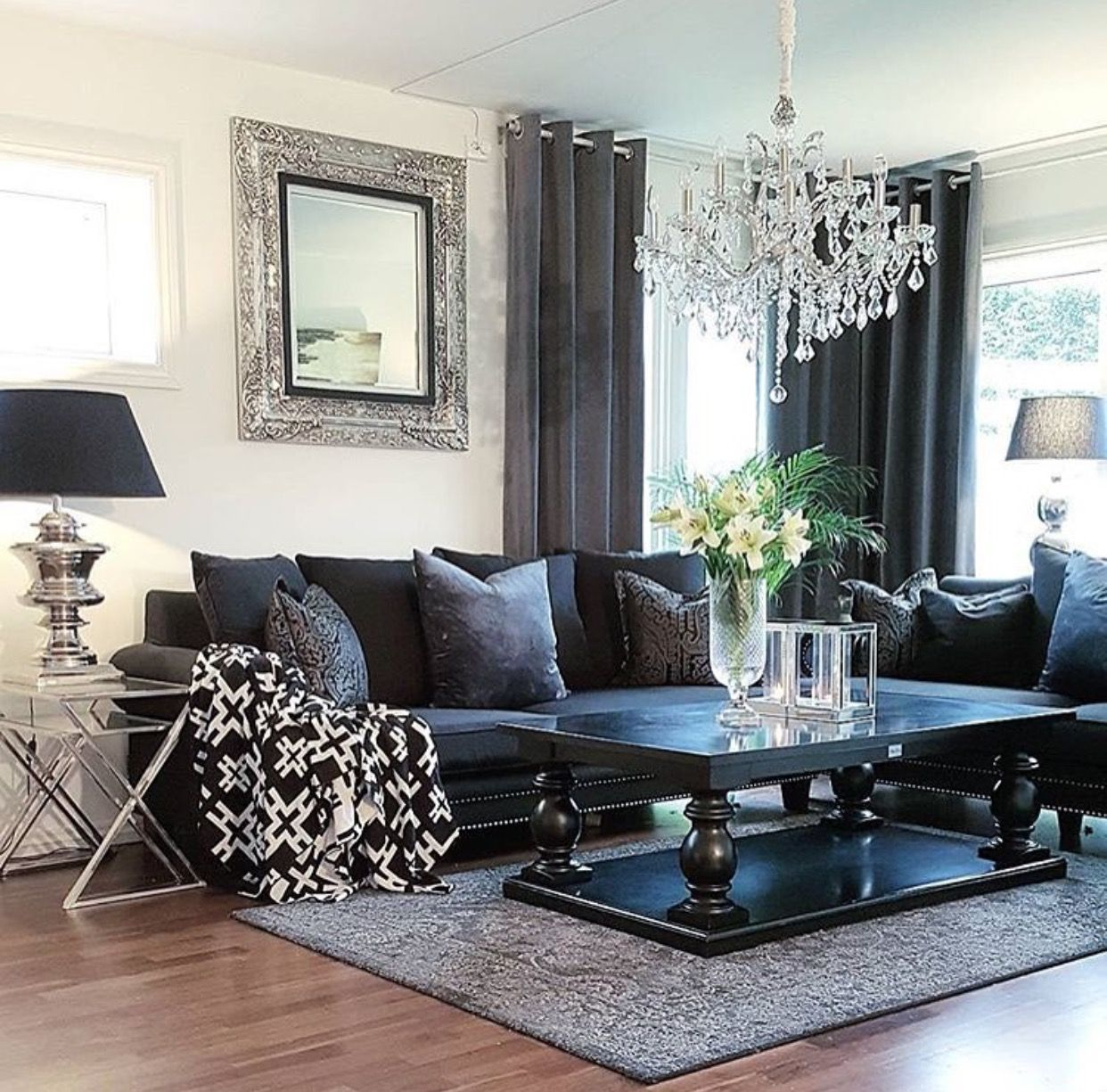 Black Chrome Living Room Dark Living Rooms Black Living Room