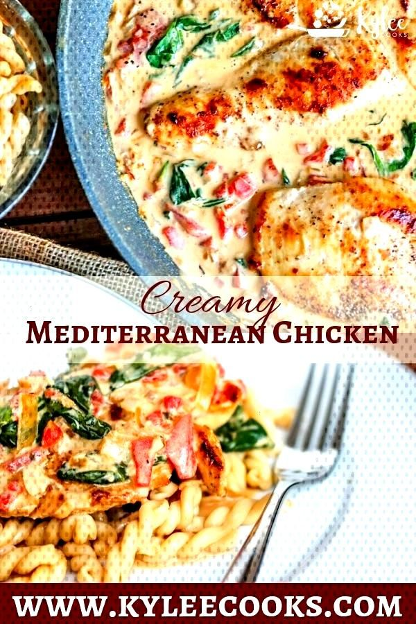 This Creamy Mediterranean Chicken Skillet is so delicious, you won't believe how easy and fast it i