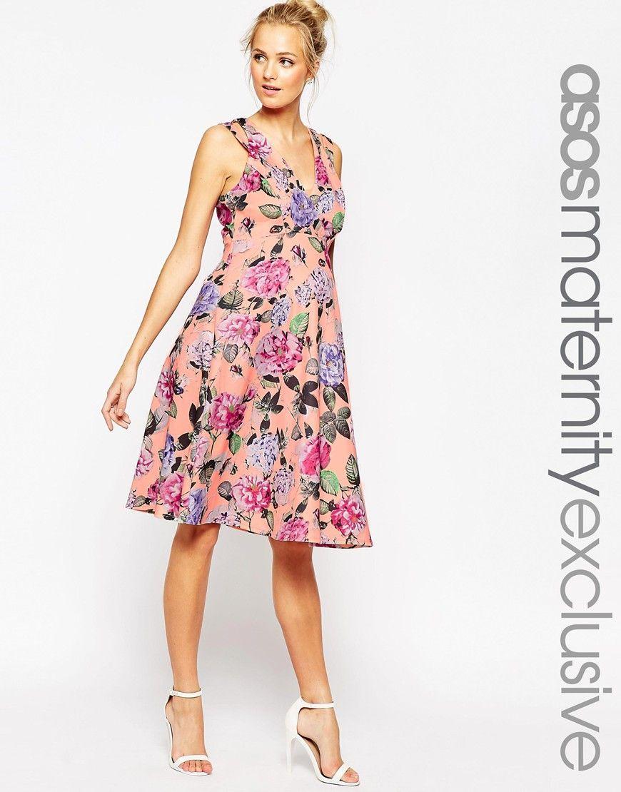 ASOS Maternity Scuba Skater Dress In Bright Peonie Print | Clothing ...