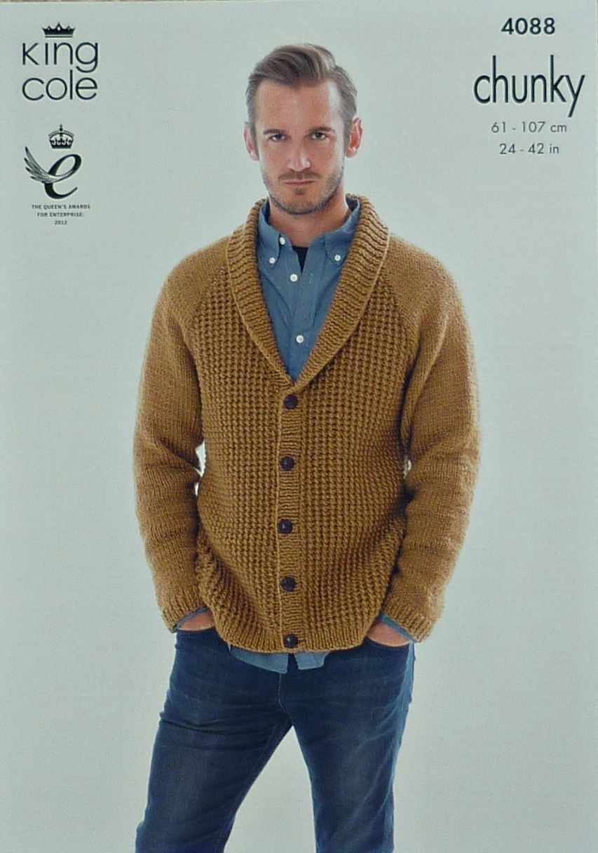 fd8d159d0 Knitting Pattern Mens Boys Roll Collar V Neck Cardigan Chunky King Cole  4088