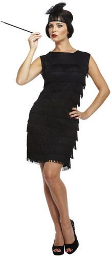 999a5cf23e3e1 Black Flapper Ladies 20s Fancy Dress Womens 1920s Great Gatsby Adults  Costume | eBay